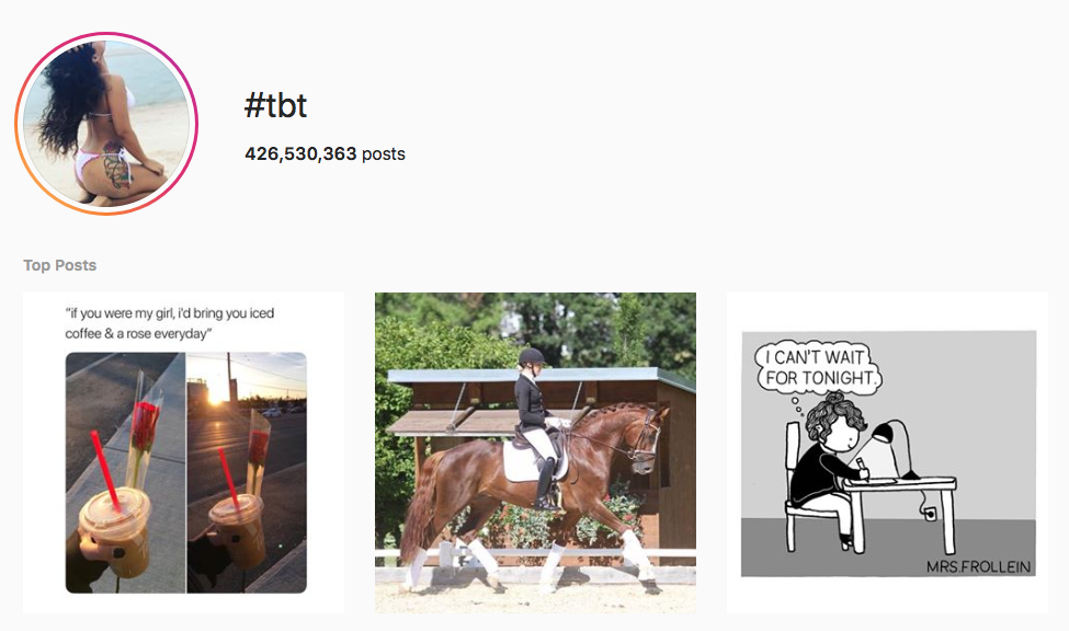#tbt top instagram hashtags