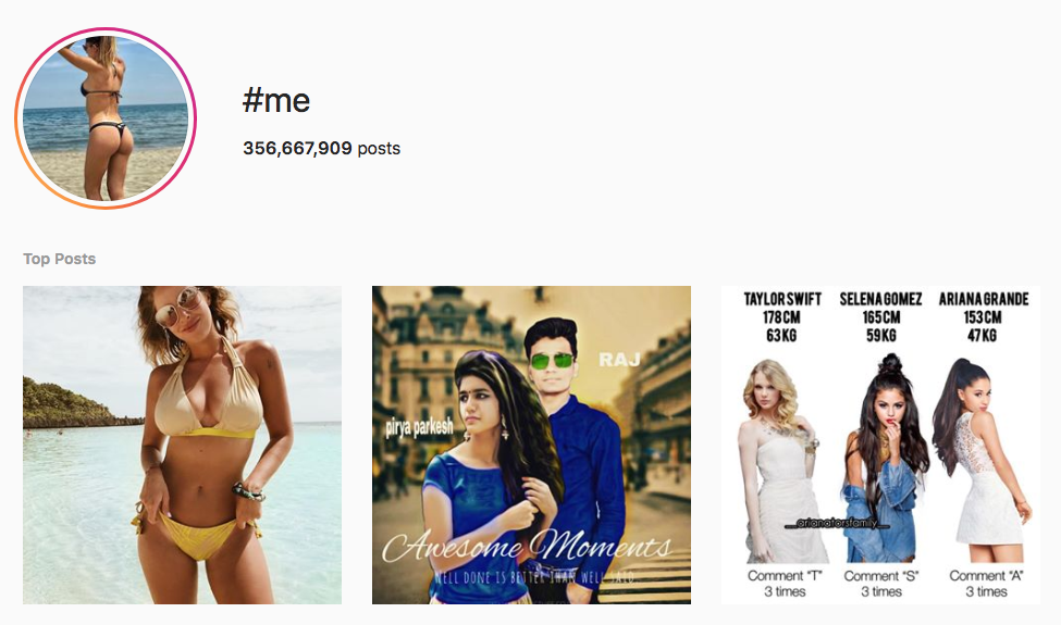 #me top instagram hashtags