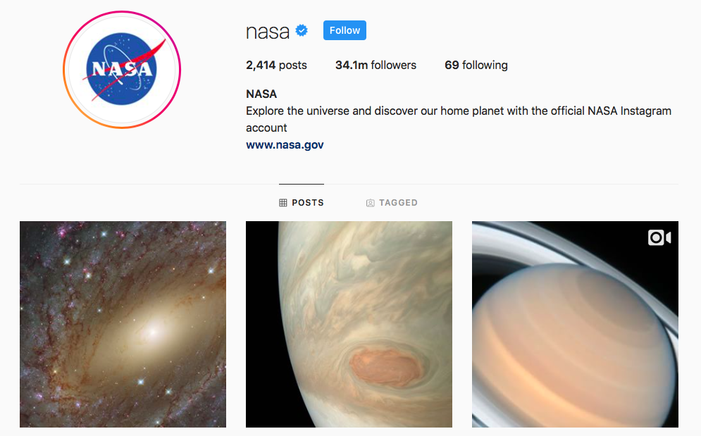 NASA Top IGTV Channels