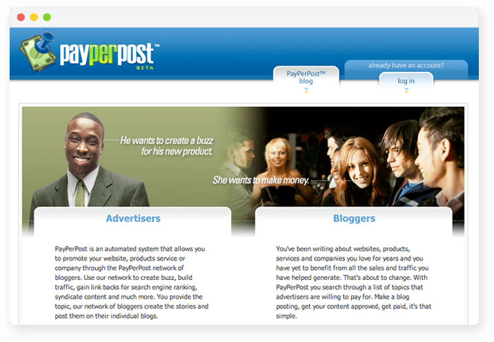 Screenshot of PayPerPost.com Beta, the Original Influencer Marketing Platform.