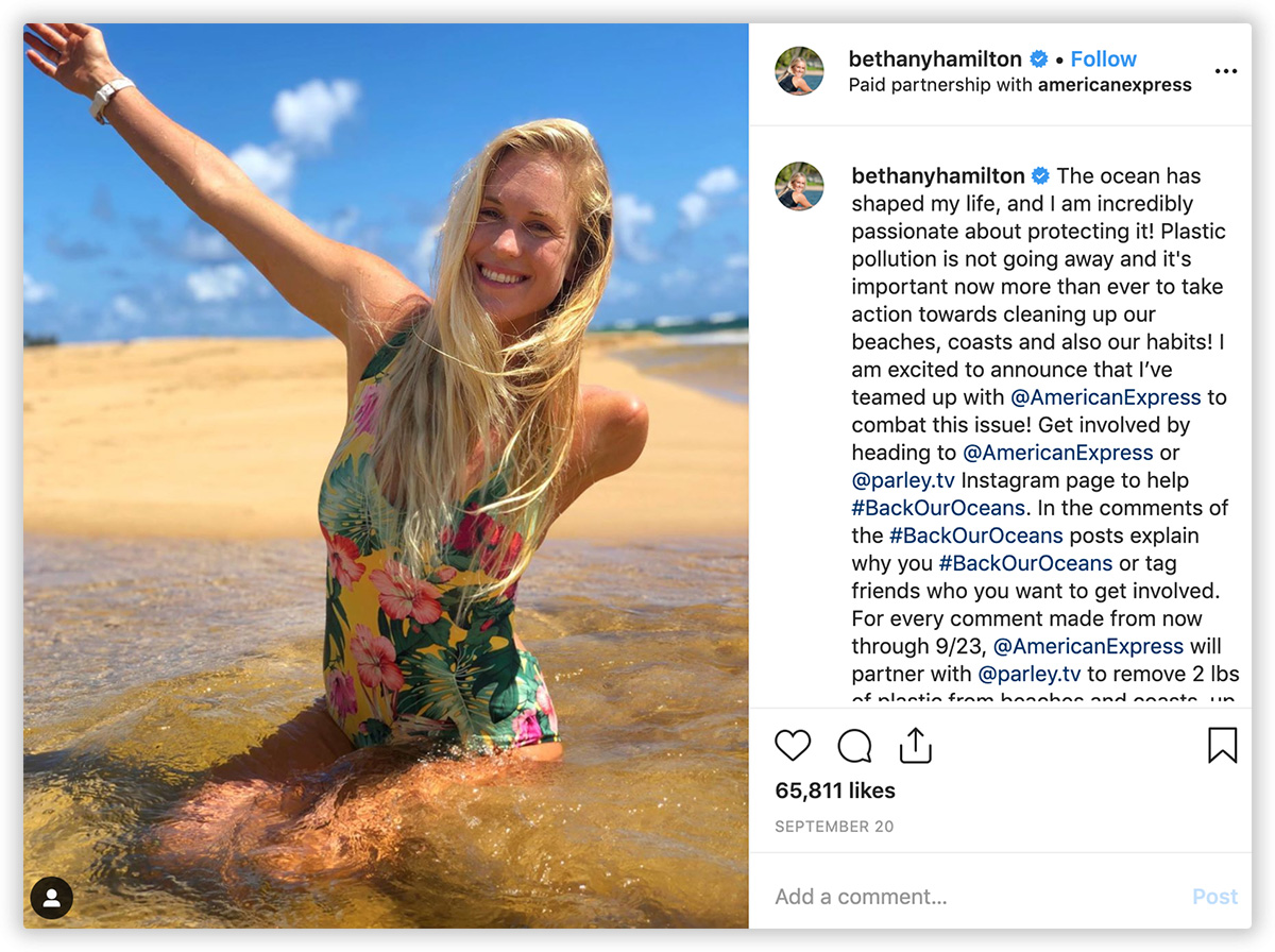 American Express Bethany Hamilton Instagram Campaign