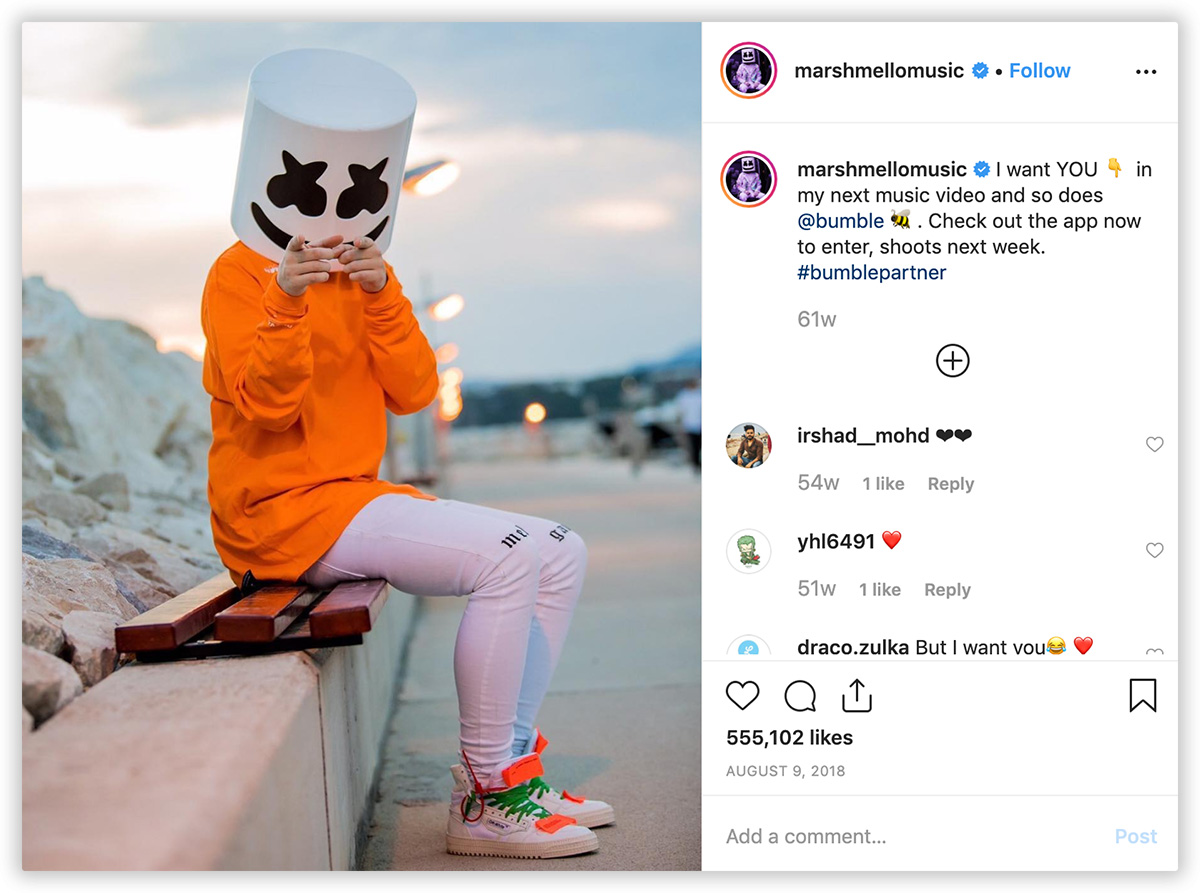 Bumble Marshmello music campaign