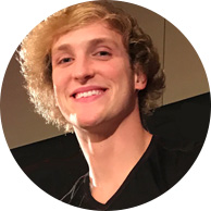 Logan Paul smiling blonde male black shirt