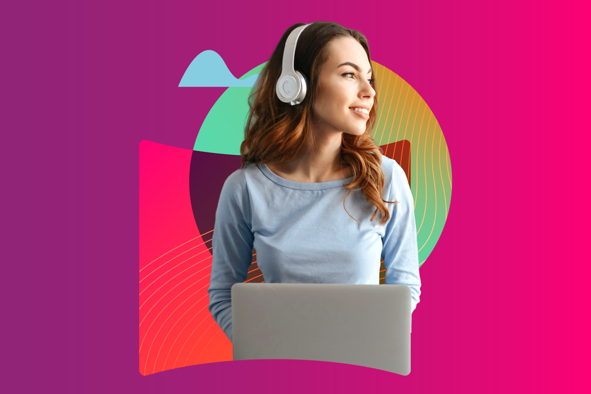 girl laptop izea logo icon cloud