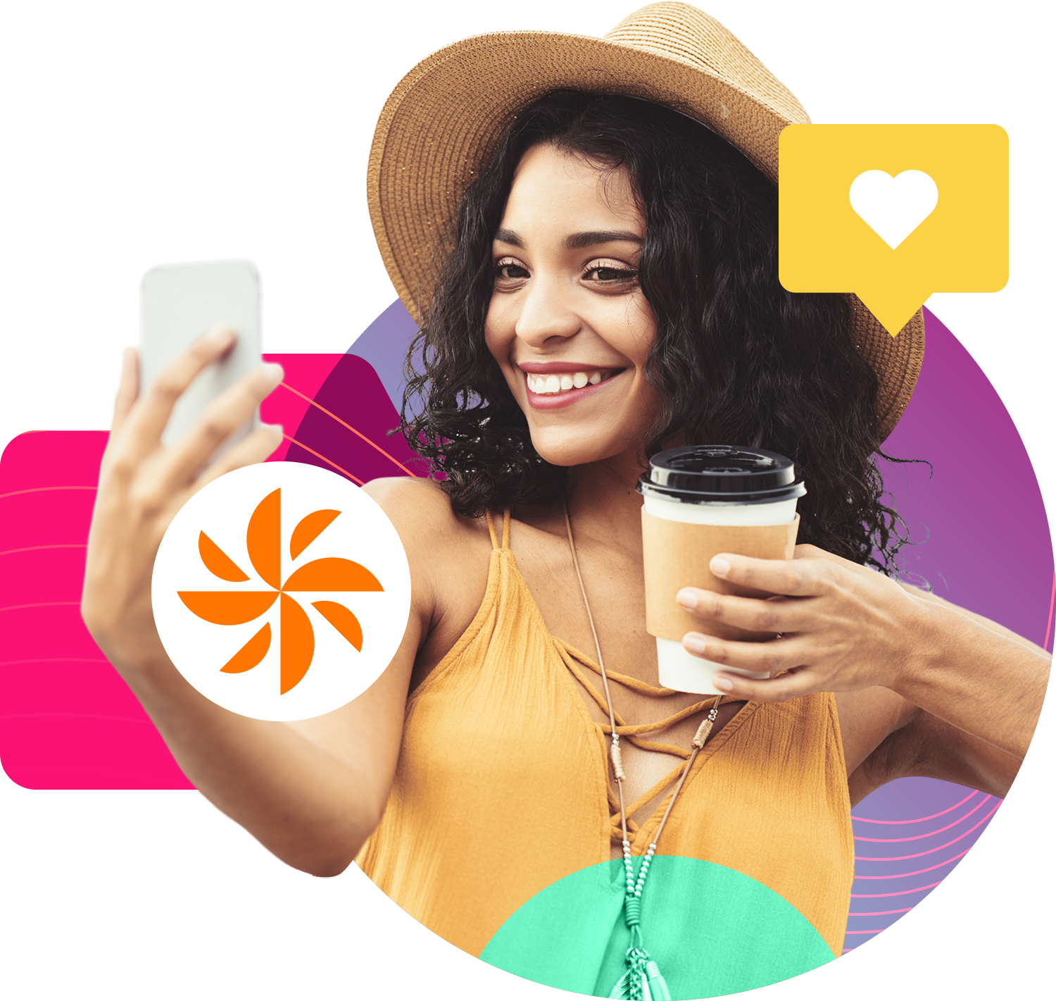 girl holding coffee and taking a selfie