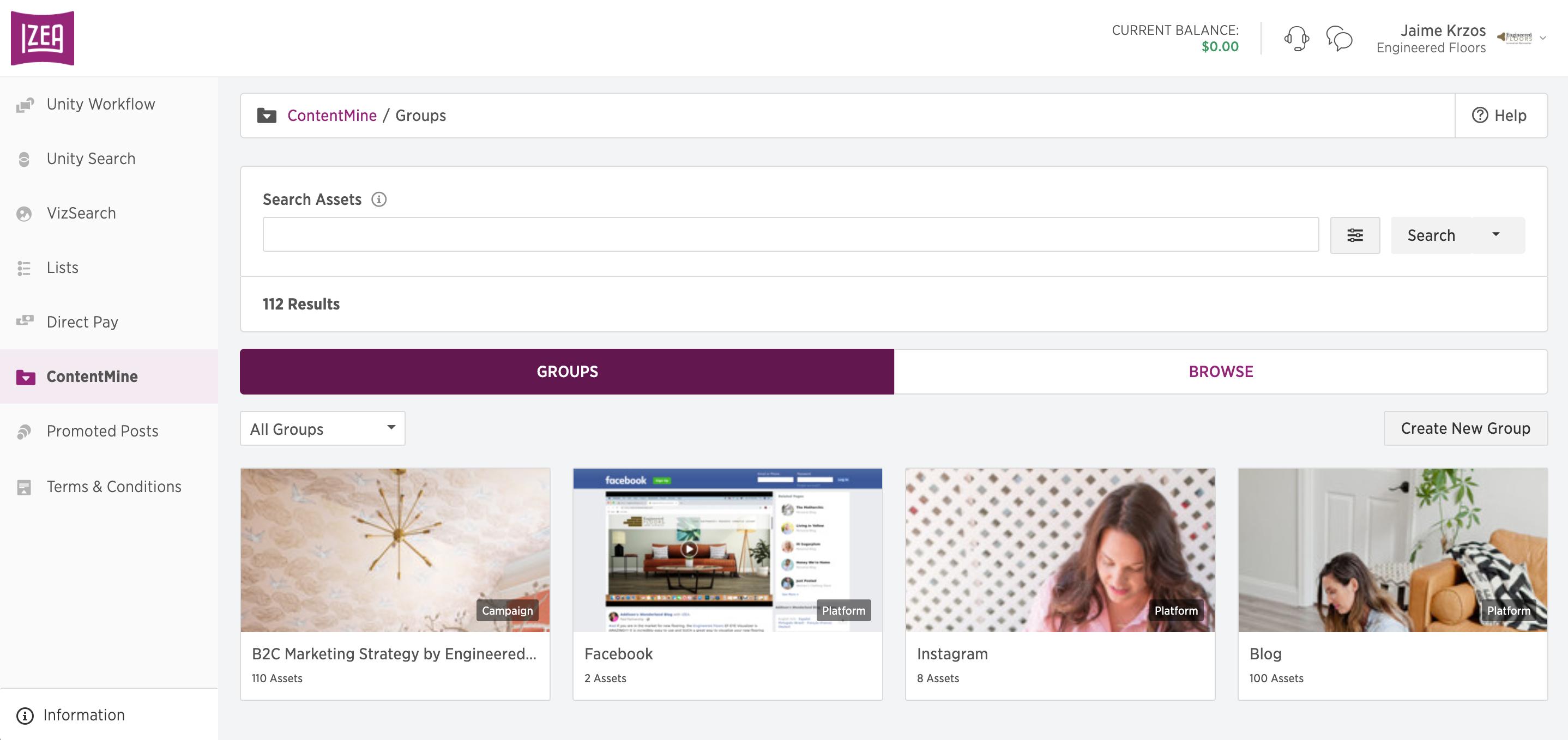Screenshot of ContentMine, a feature in the IZEAx platform.