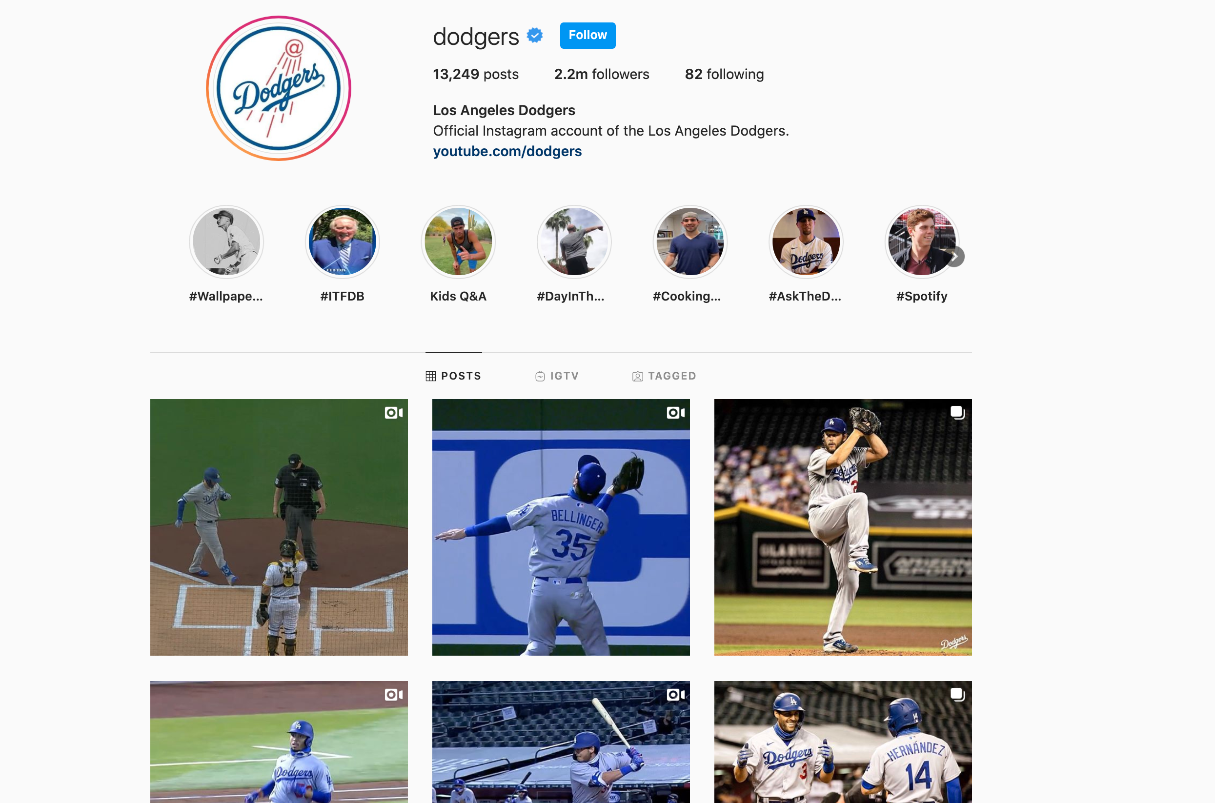 los angeles dodgers instagram