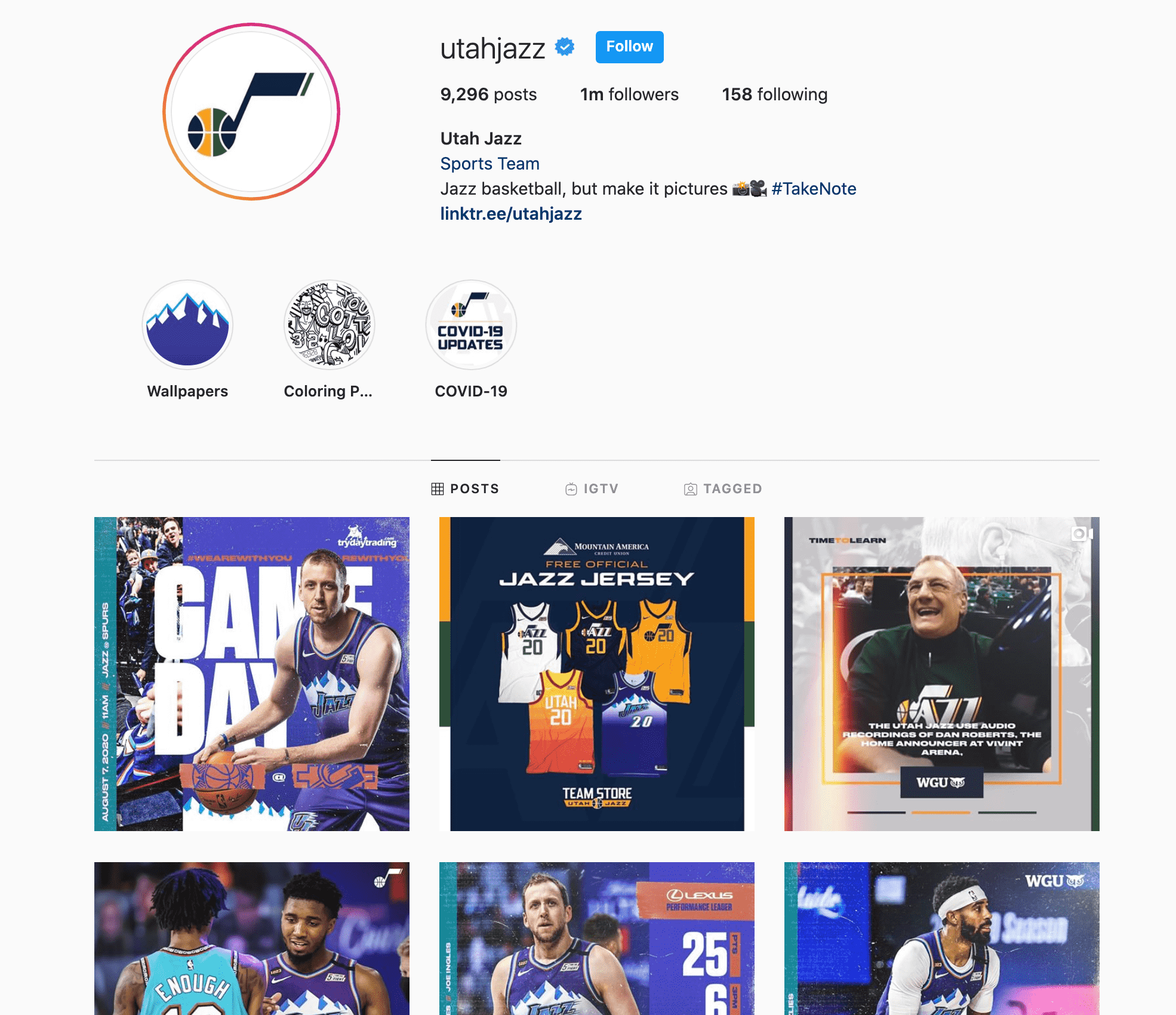utah jazz instagram
