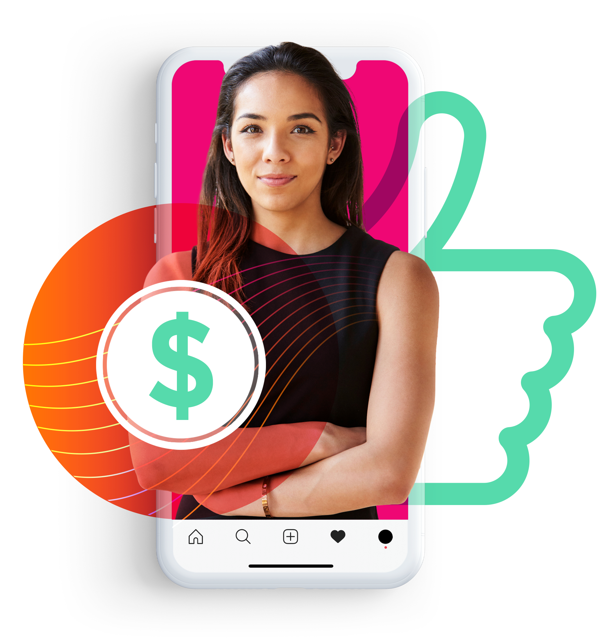 woman with arms crossed on phone with like icon and money icon