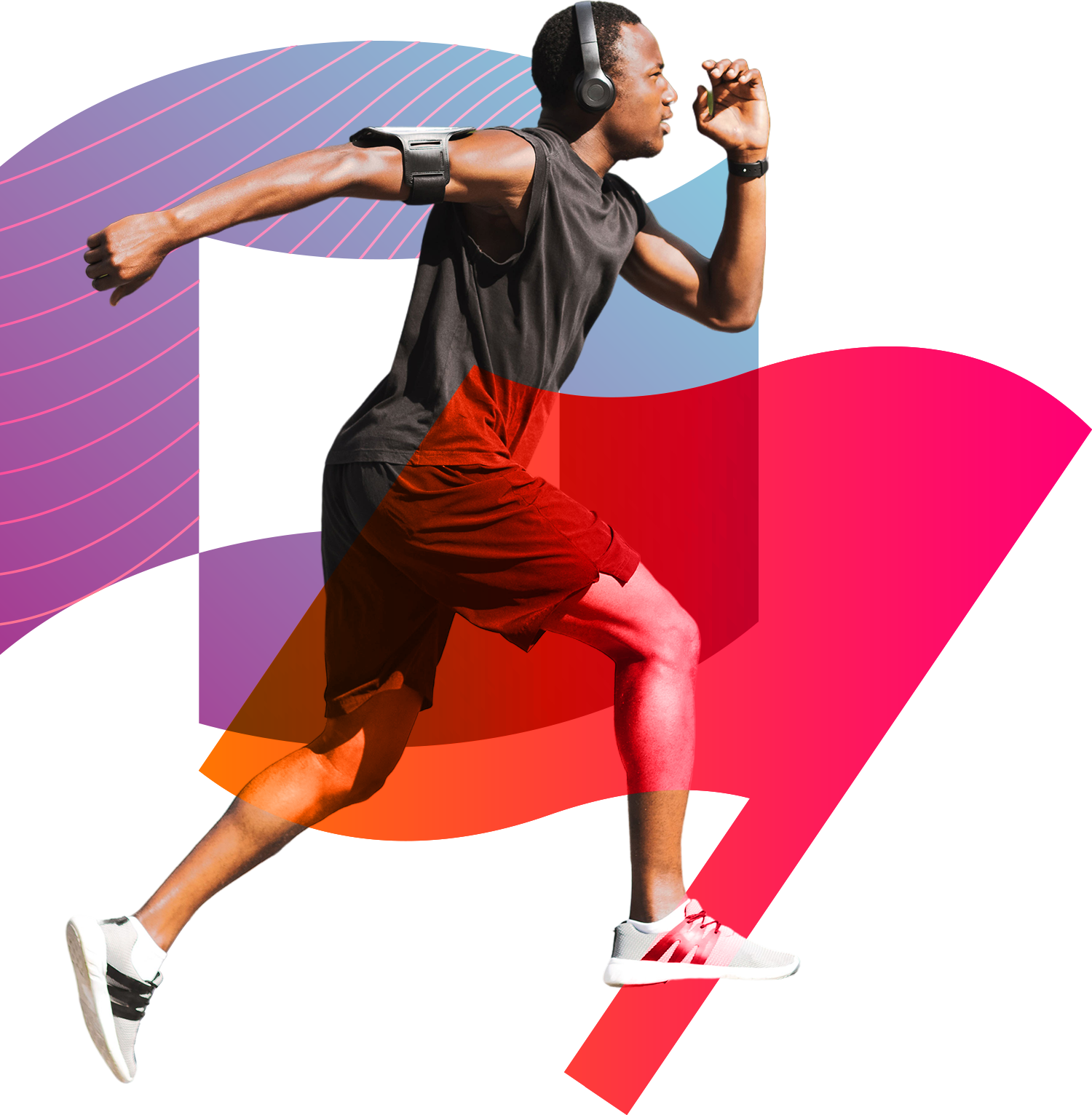 Man running while listening with headphones