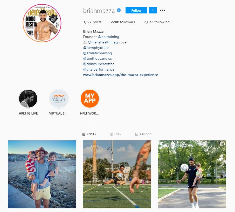 Brian Mazza gym fashion on Instagram