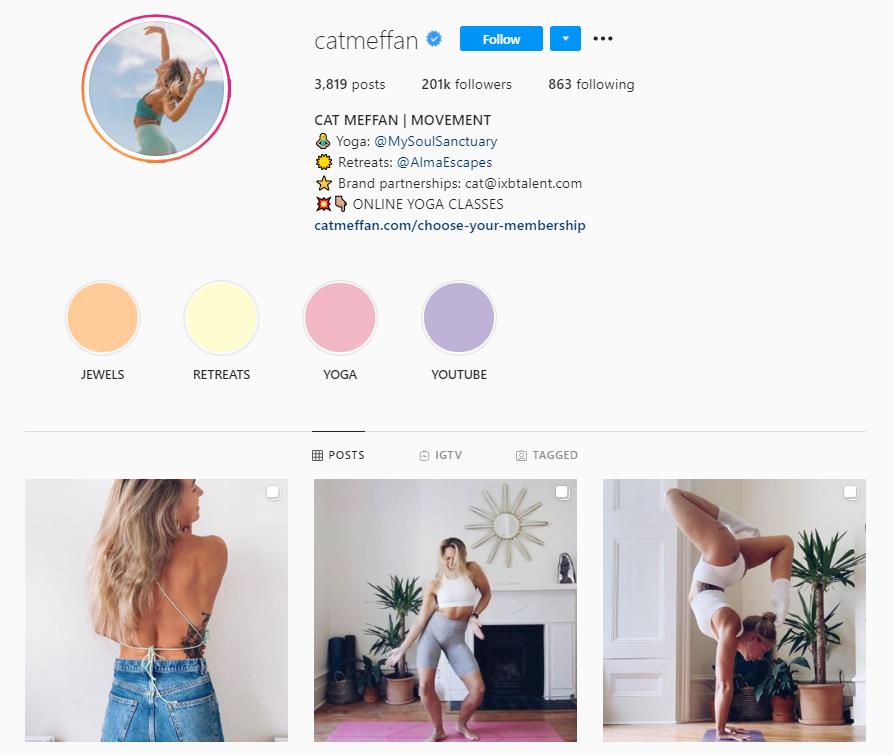 Cat Meffan gym fashion on Instagram