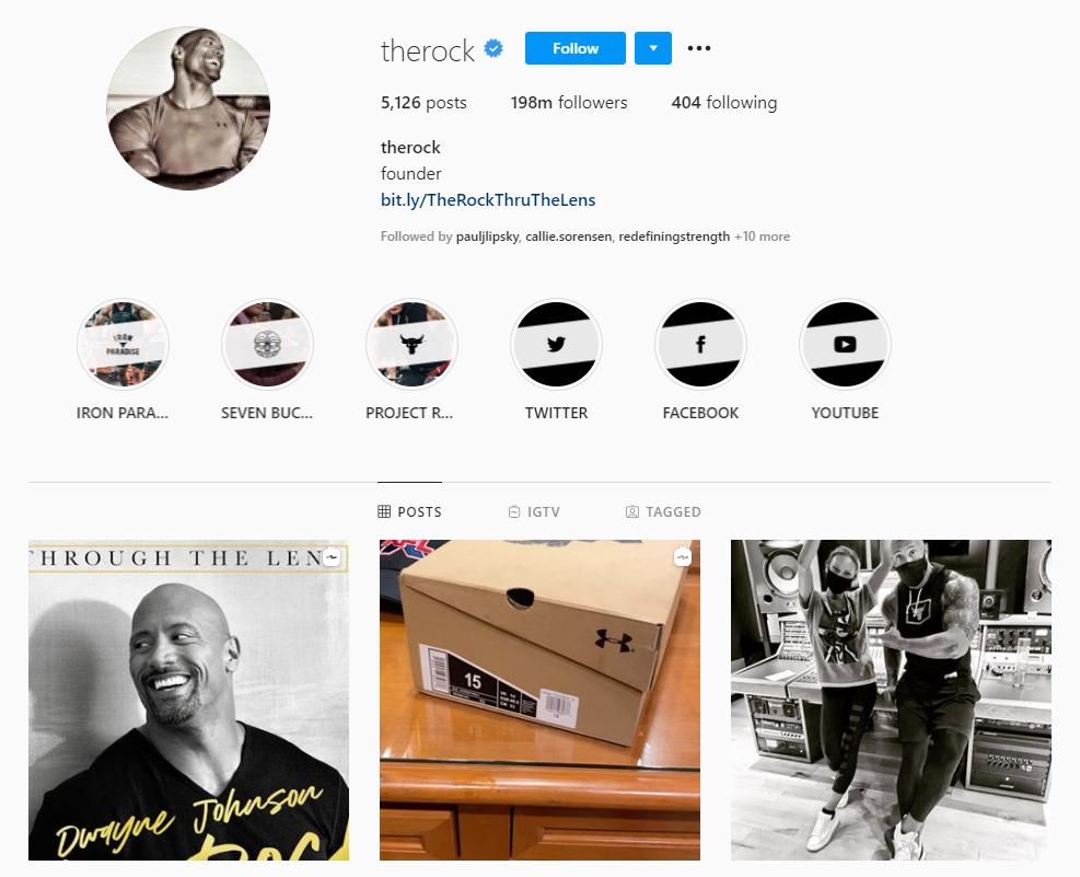 Dwayne Johnson gym fashion on Instagram
