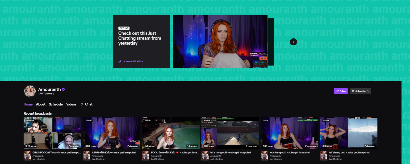 Amouranth top twitch streamers