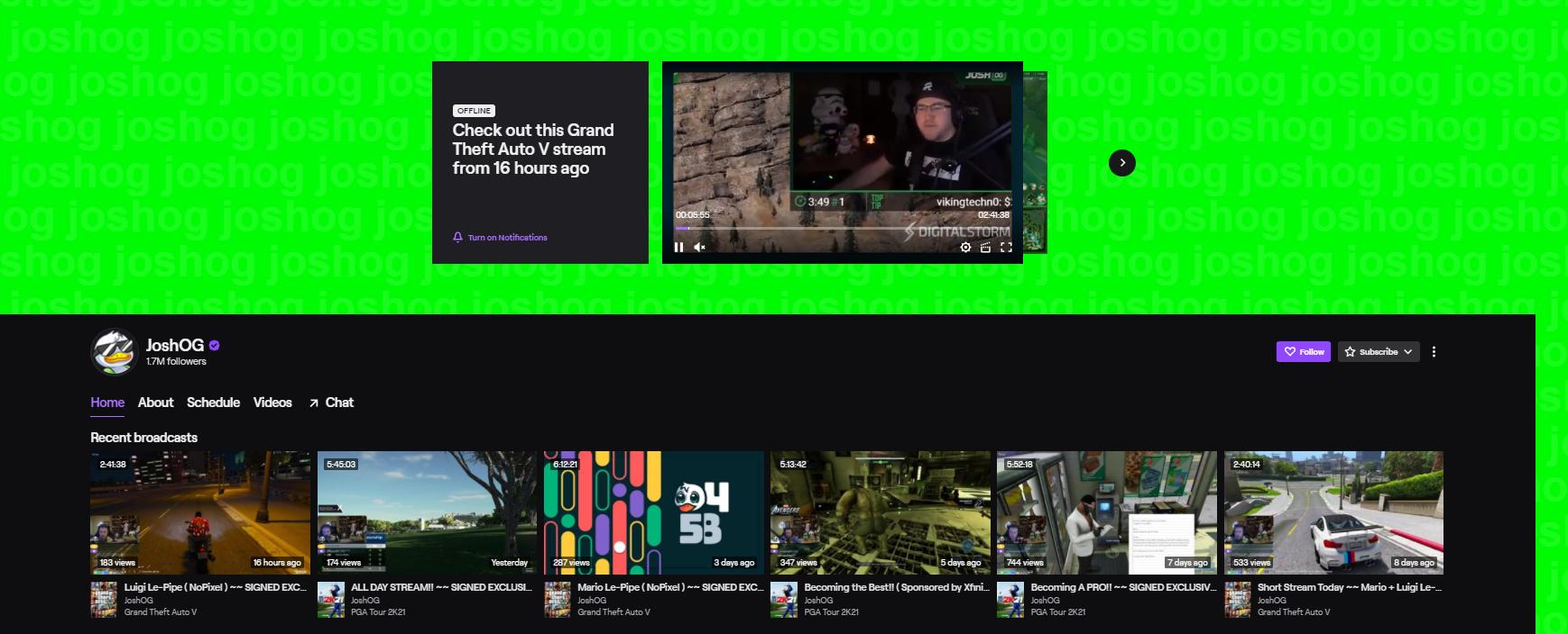 JoshOG top twitch streamers