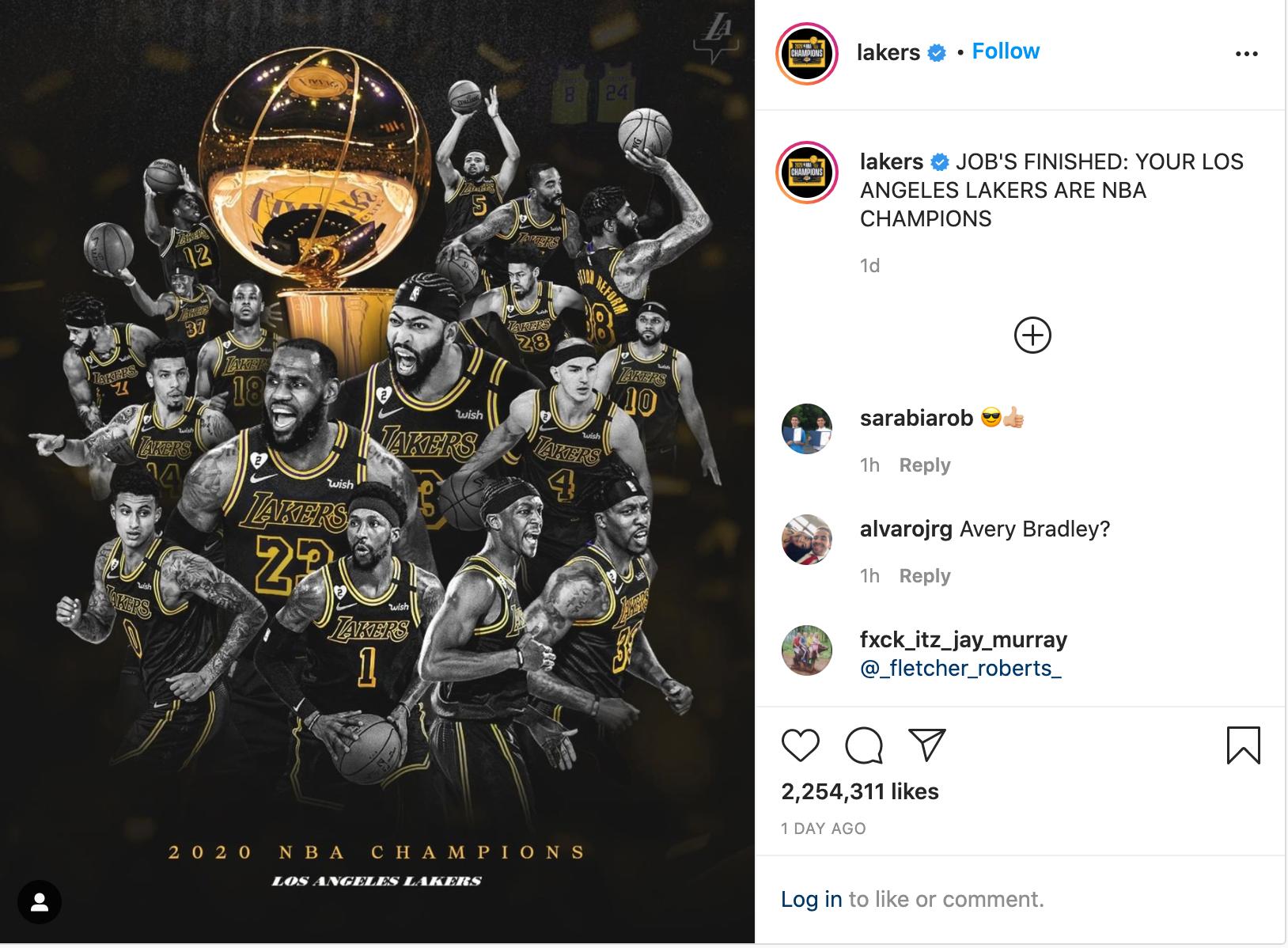 Lakers Insta Post 2