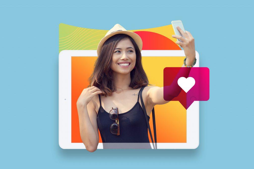 female influencer phone tablet heart