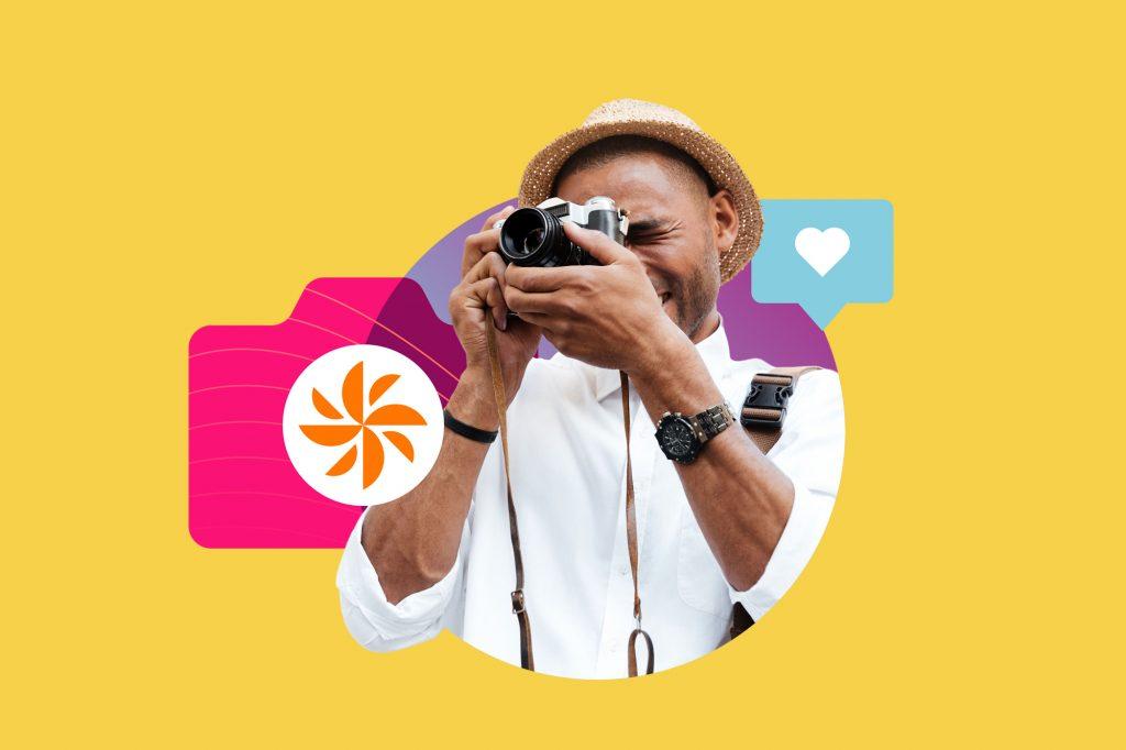 camera man hat heart