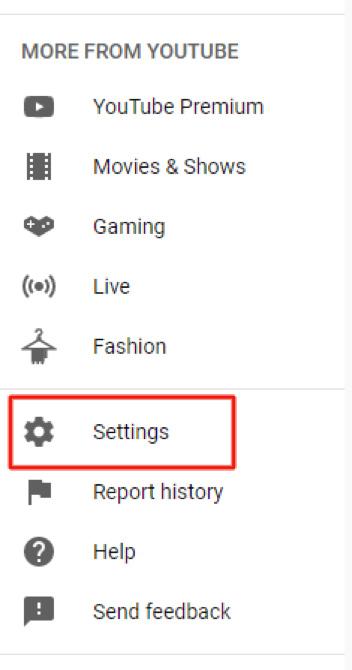 youtube settings dropdown
