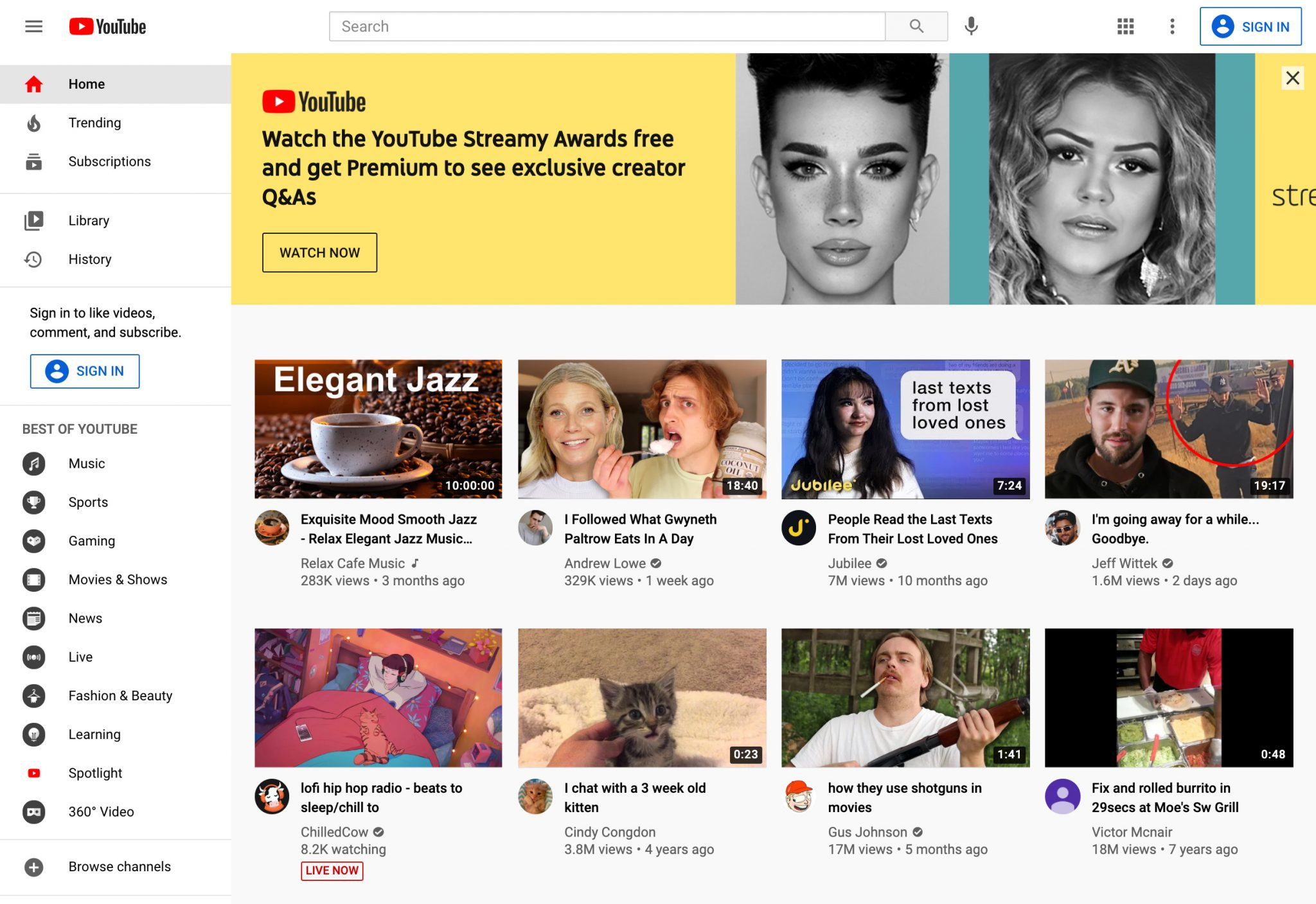 youtube homepage videos