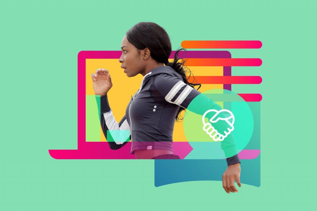 laptop woman running izea handshake weart
