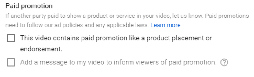 paid promotion youtube