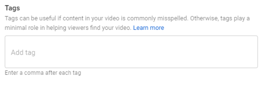 tags youtube