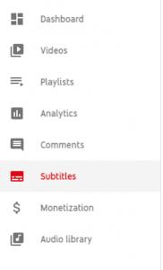 subtitles youtube menu