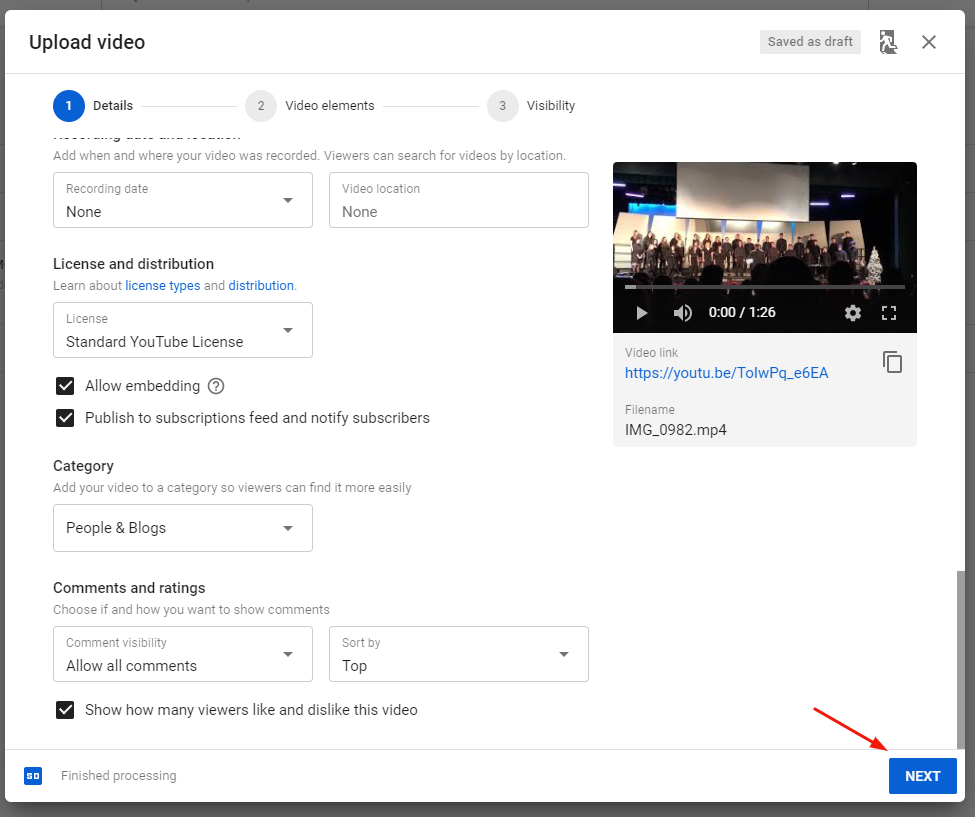 upload video next button youtube
