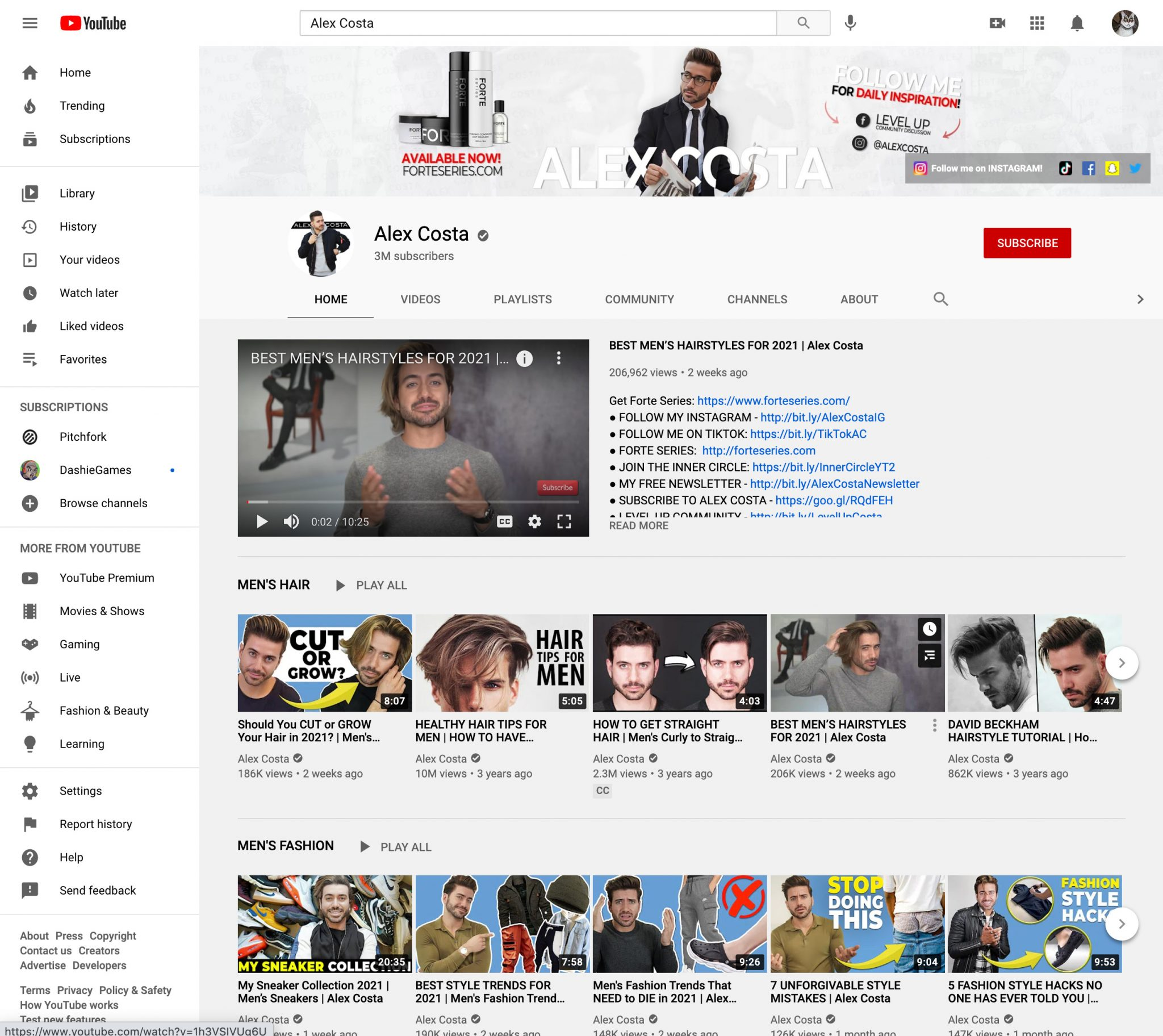 alex costa youtube influencer page