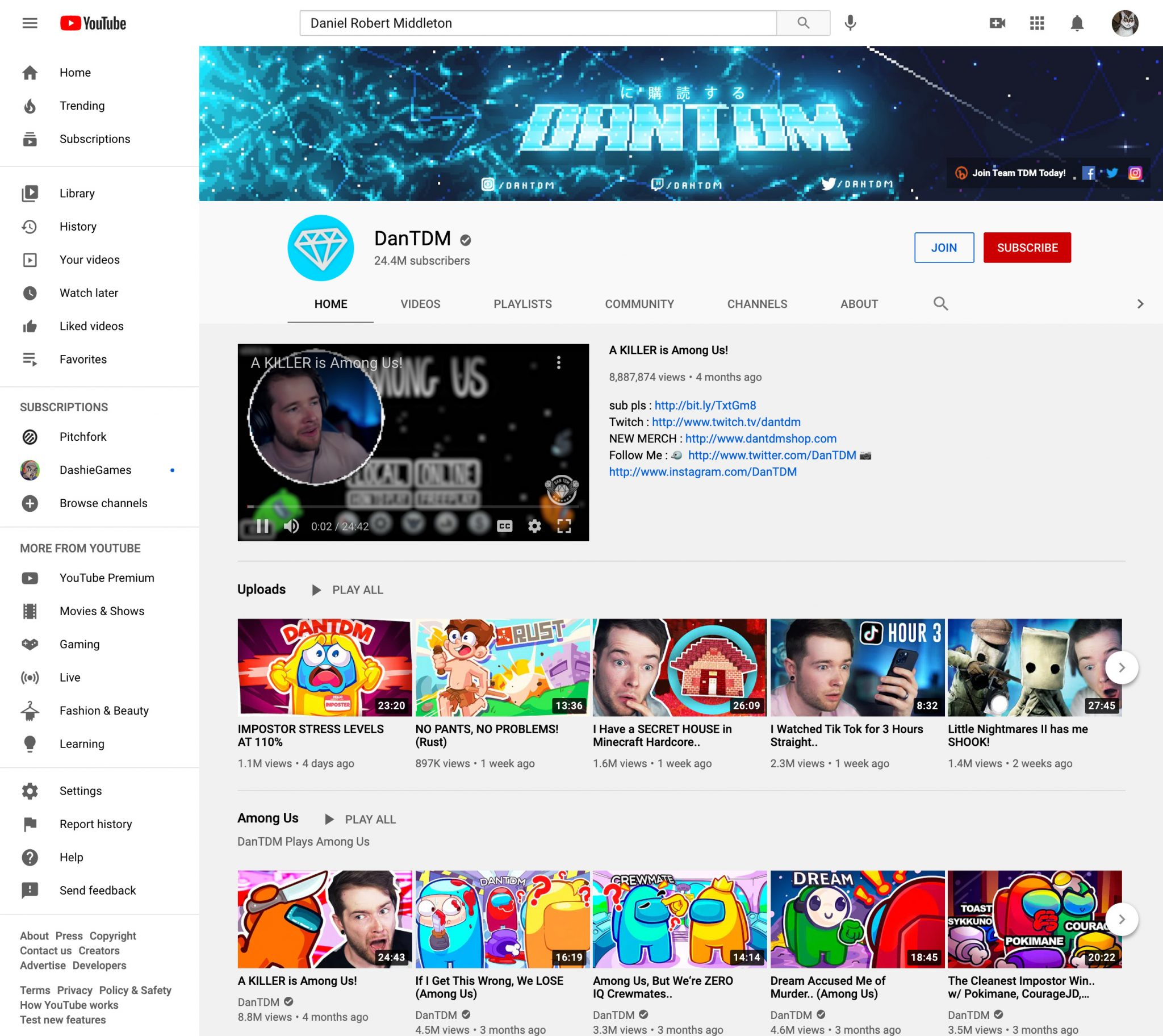 DanTDM youtube influencer page