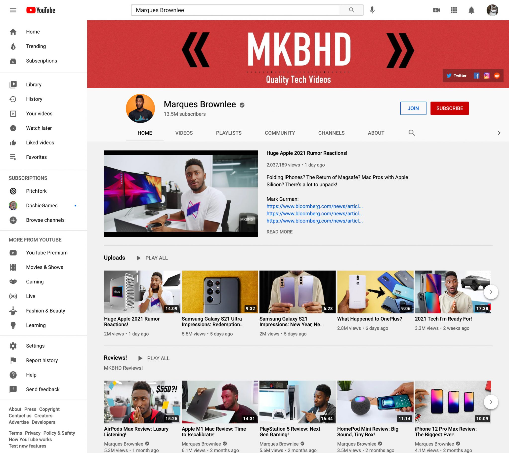 MKBHD Marques Brownlee youtube influencer page