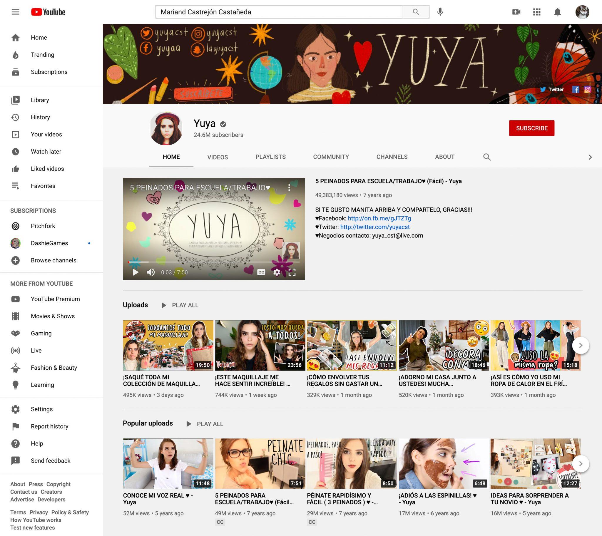 youtube influencer page yuya