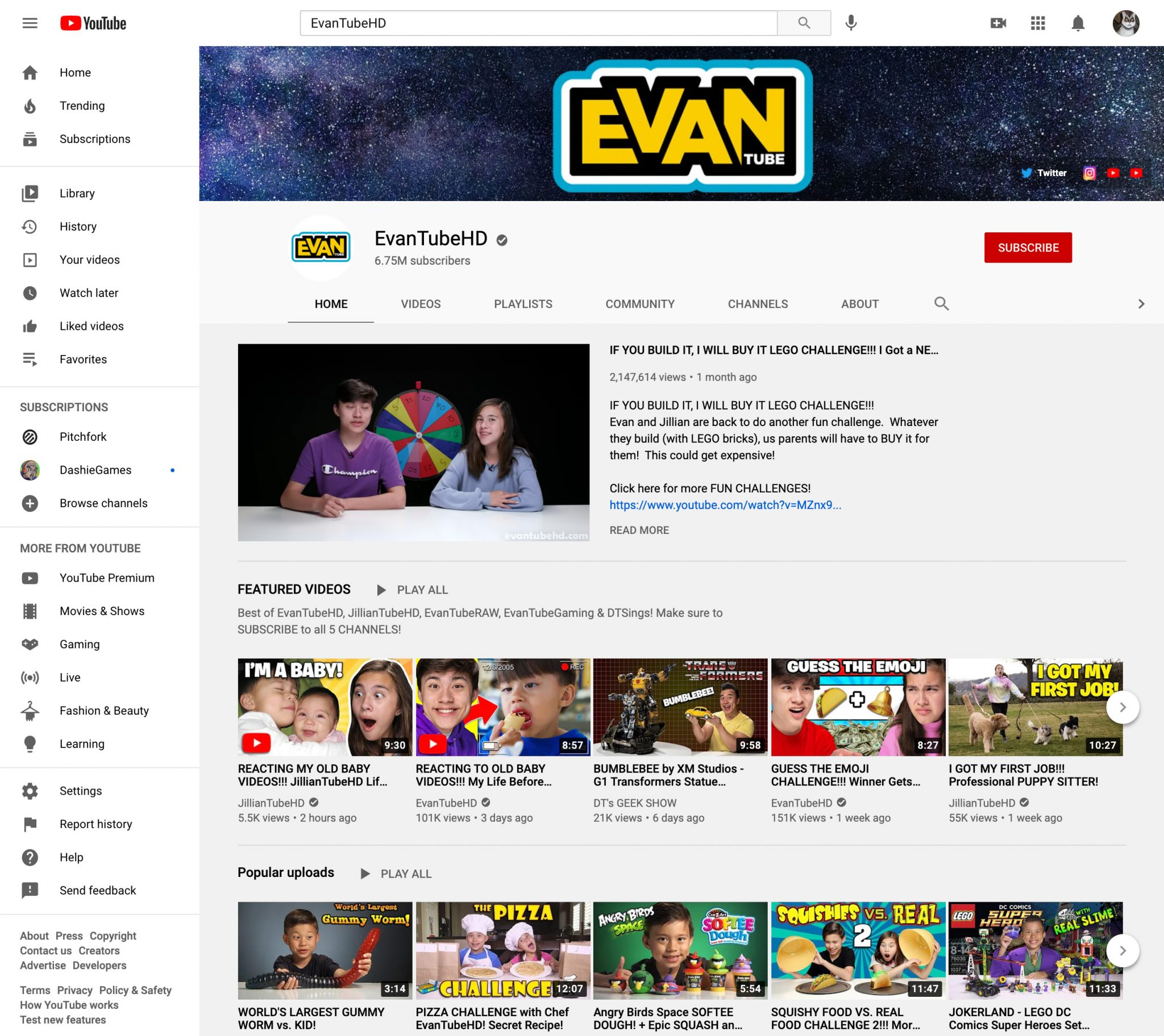 EvanTubeHD youtube influencer page