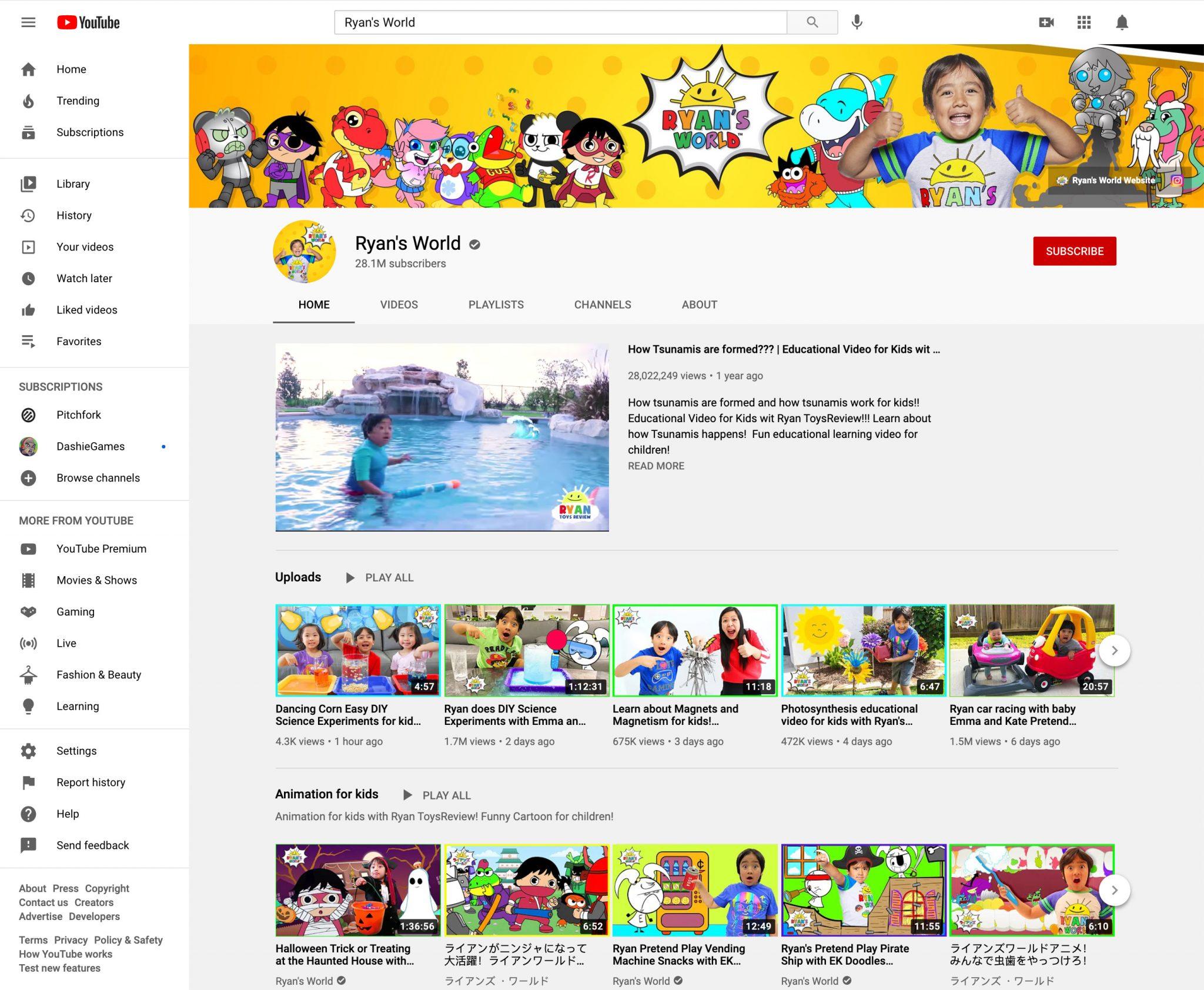 ryan's world youtube