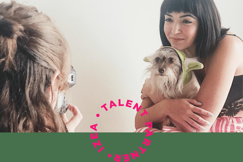 talent izea partner woman dog