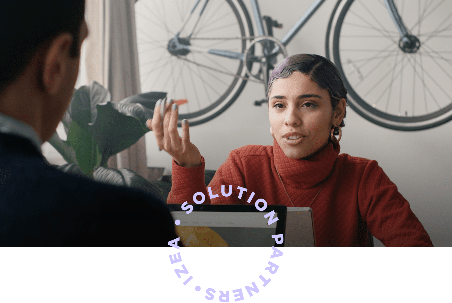 solutions header woman bicycle mobile