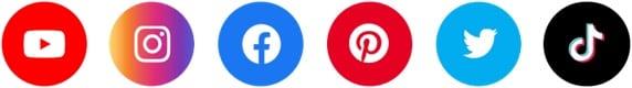 social icons youtube instagram facebook pinterest twitter tiktok