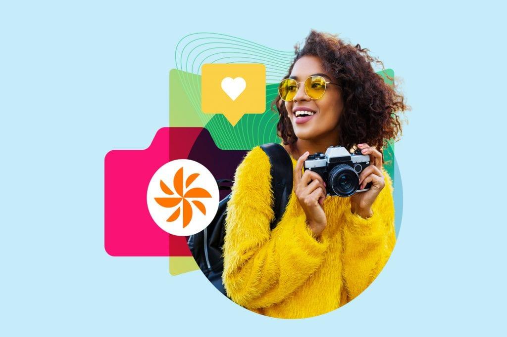 woman yellow glasses camera izea