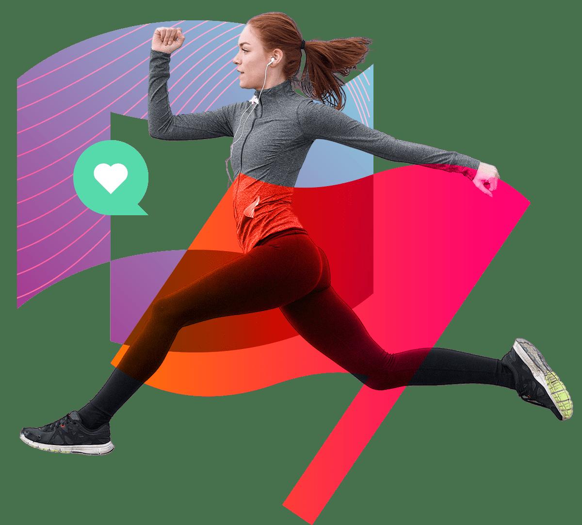 girl running izea heart flag