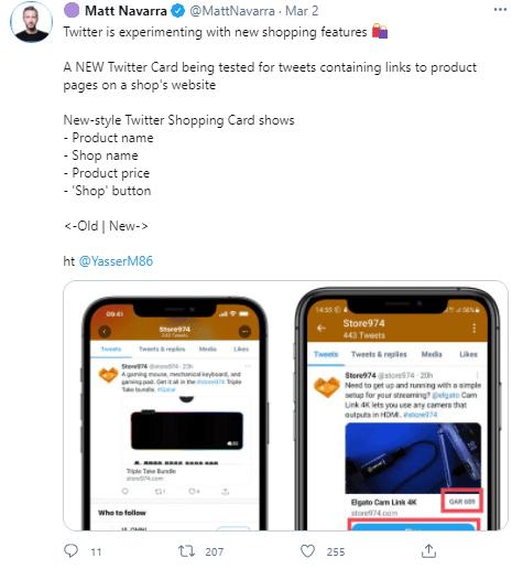 twitter e-commerce matt navarra tweet
