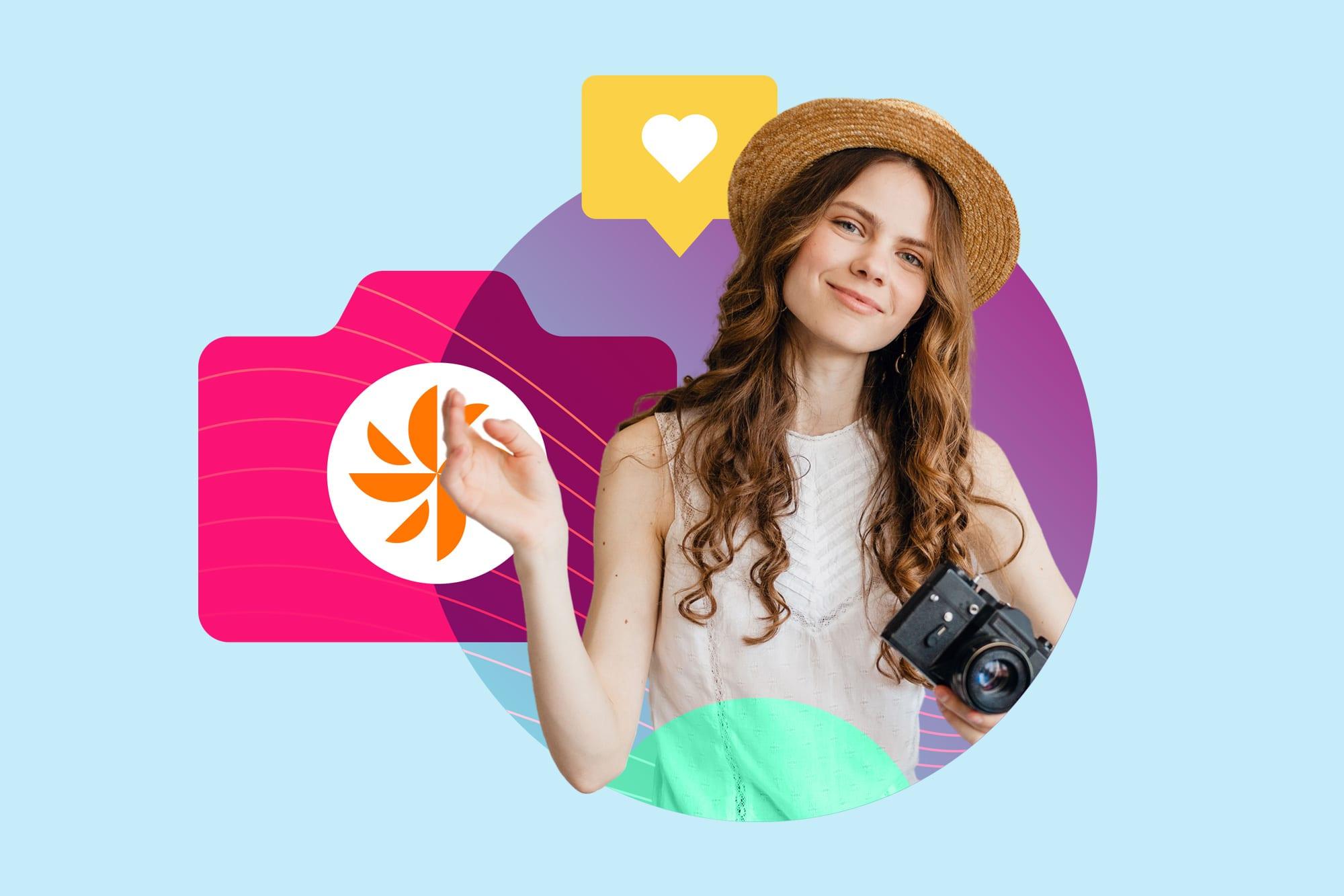 girl hat camera heart izea