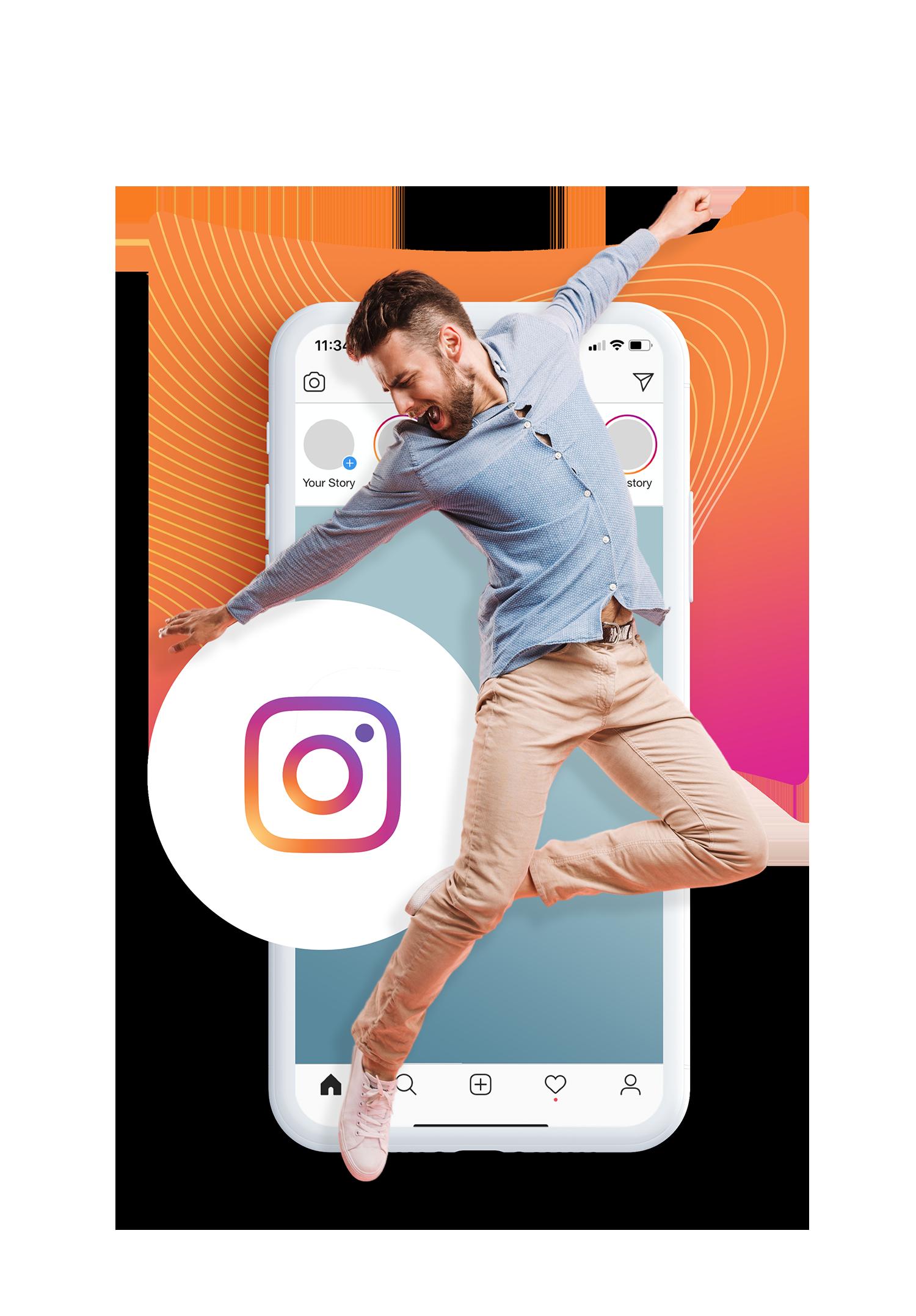 instagram izea phone man jump