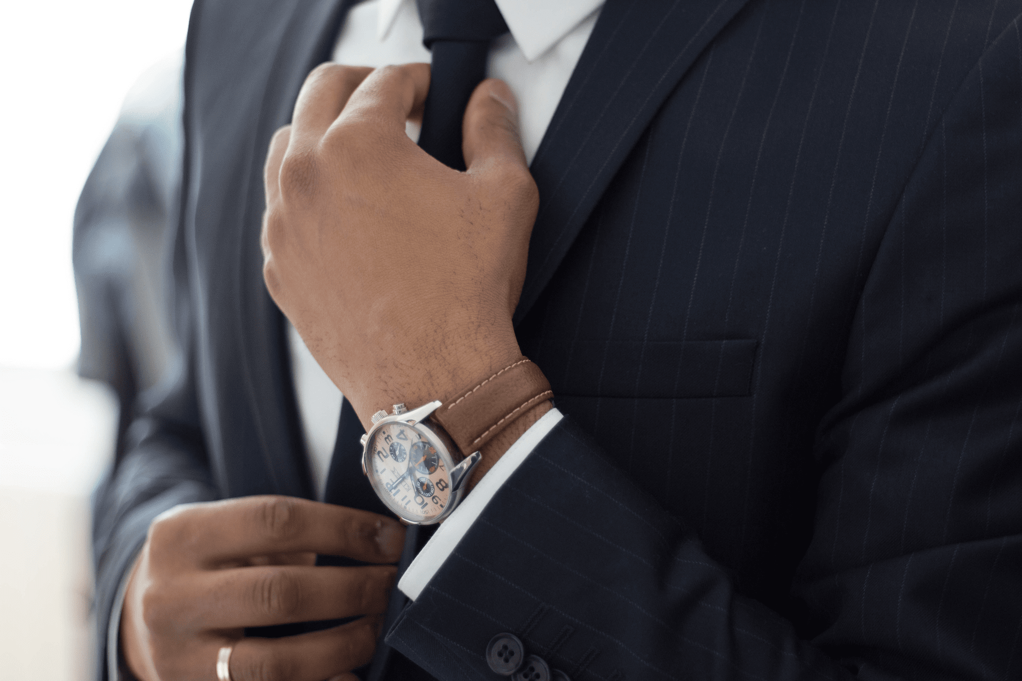 instagram business account businessman straightening his tie instagram business account