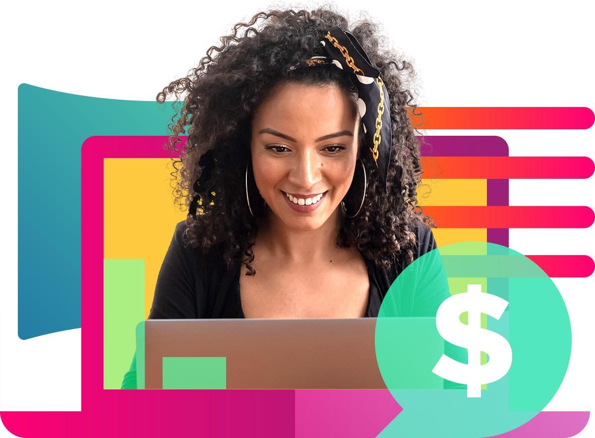 woman computer izea money laptop budget