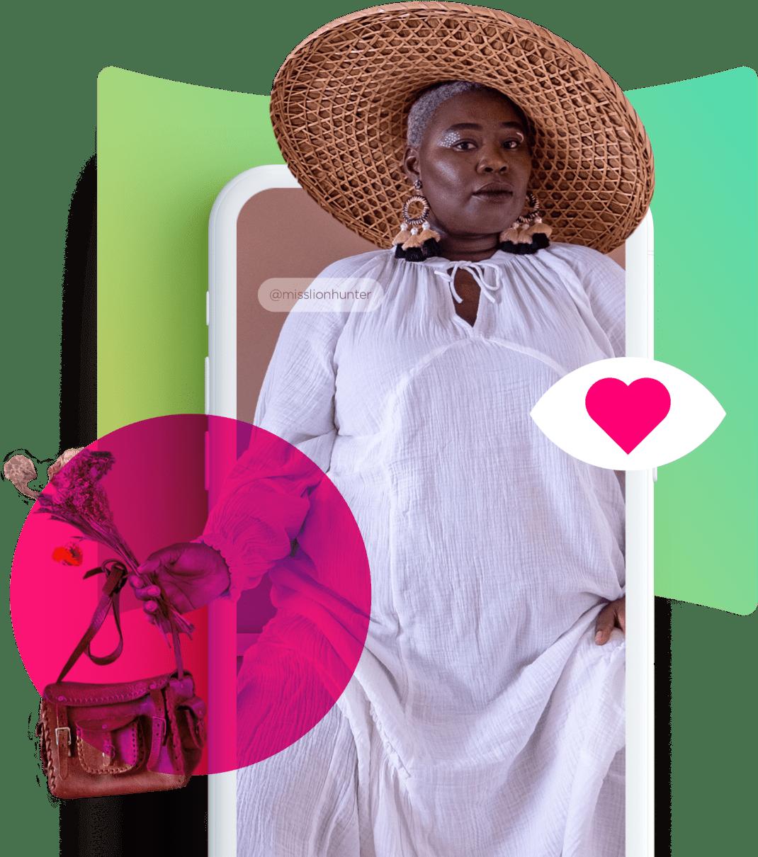 woman izea hat purse heart misslionhunter