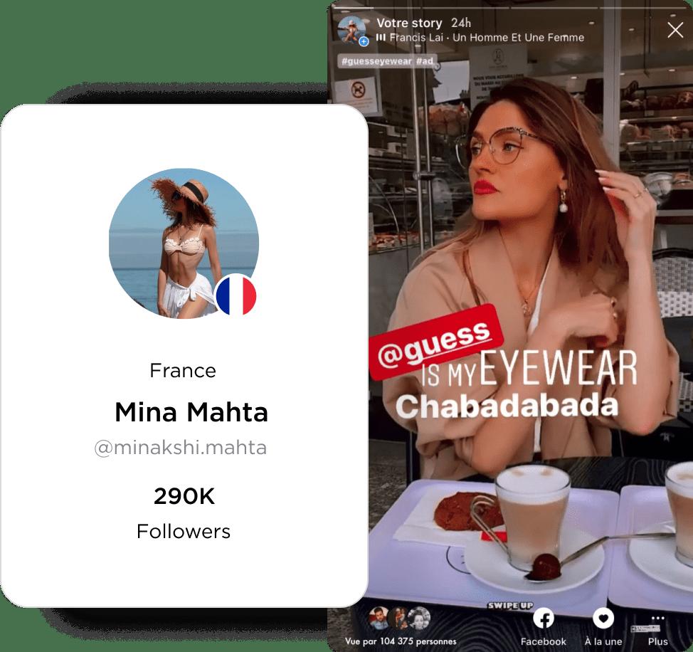 Mina Mahta GUESS Eyewear Influencer Instagram Story