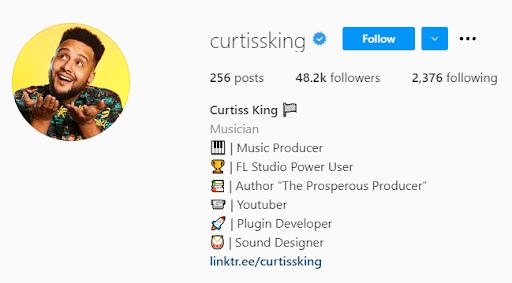 Curtiss King Instagram Bio