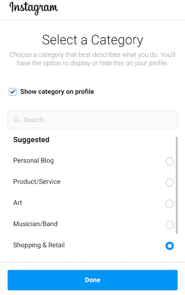 Instagram Select Category Screen