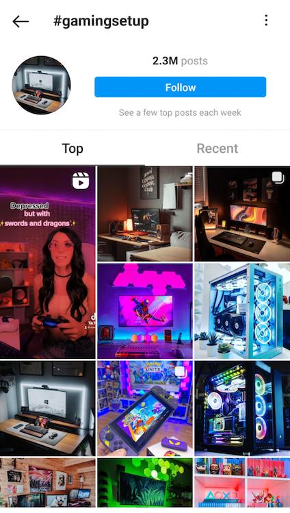 Gaming Setup Hashtag on Instagram